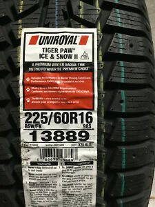 1 New 225 60 16 Uniroyal Tiger Paw Ice Snow Ii Winter Tire