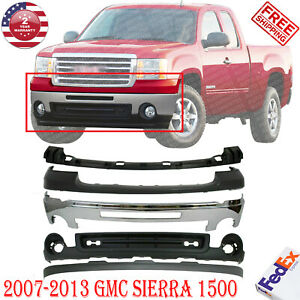 Front Bumper Chrome Steel Up low Cover Bracket For 2007 2013 Gmc Sierra 1500