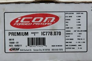 Ic778 070 Icon Forged Pistons 454 Bbc Chevy 4 2500 Bore 18cc Dish