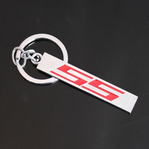 3d Chrome Red Ss Letters Car Key Chain Ring Keychain For Chevrolet Chevy Ss