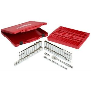Milwaukee 56 Piece 3 8 In Ratchet And Socket Set Mlw48 22 9008 Brand New