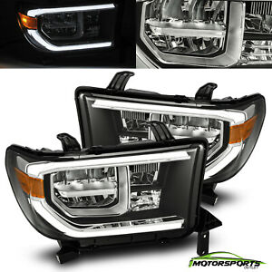 For Toyota 07 13 Tundra 08 17 Sequoia Black Full Led Headlights Pair W led Drl