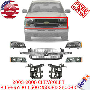 Grille Headlight Kit Brackets For 2003 06 Chevrolet Silverado 1500 2500 3500