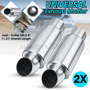 2pcs 2 5 Inch In out Car Exhaust Pipe Silencer Tip Sound Tuning Resonator Chrome