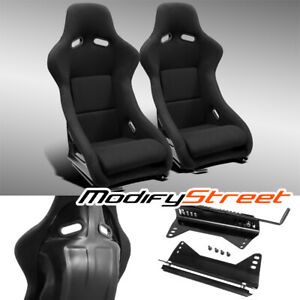 2 X Jdm Black Fabric Left right Fiber Glass Pole Position Racing Bucket Seats