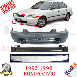 Front Bumper Cover Primed Reinforcement Absorber For 1996 1998 Honda Civic