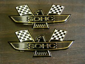 Ford Sohc Crossed Flag Fender Emblems Gold Mustang Fairlane Galaxie Falcon 1969