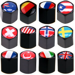 Anti theft Universal National Flag Car Valve Stems Caps Cover Dust Tire Wheel