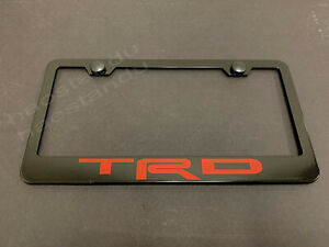 1x Redtrd Black Stainless Metal License Plate Frame Screw Caps Red