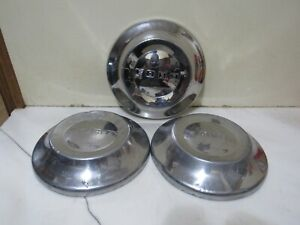 Vintage Set Of 3 1952 1954 Ford Dog Dish Hubcaps