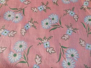 Antique Vintage Lightweight Daisy Floral Batiste Cotton Fabric Pink Blue