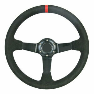 350mm Suede Leather Drift Racing Steering Wheel W Ra Horn Fits Boss Kit