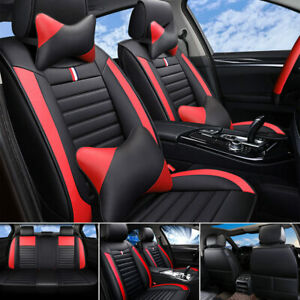 Top Pu Leather Car Seat Covers Front Rear Full Set For 5 seats Cars Universal