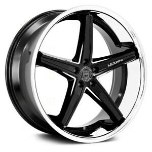 24 Inch 24x10 Lexani Fiorano Black Milled Ss Lip Wheel Rim 5x5 5x127 35