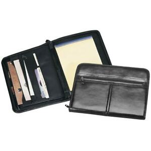 Goodhope Black Leather Zip around Pad Organizer Black