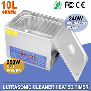 10 Liter Heated Timer Heater Stainless Steel Ultrasonic Cleaner For Industry Lab
