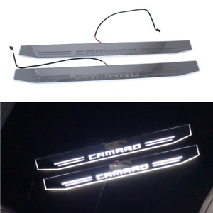 Led White Car Door Scuff Plate Welcome Pedal Sill Moving Light For Camaro