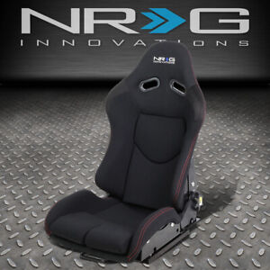 Nrg Innovations Rsc 400bk Reclinable Fabric Race Racing Bucket Seat W slider