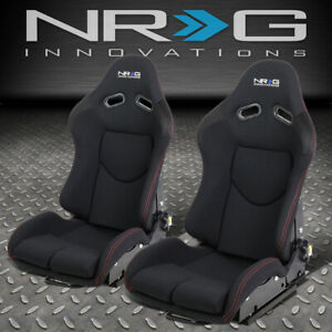 Nrg Innovations Rsc 400bk Pair Reclinable Fabric Bucket Racing Seat W sliders