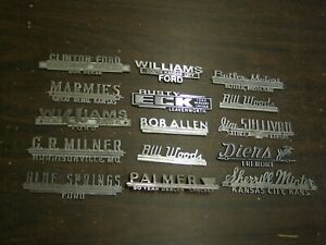 Original Metal Ford Dealer Name Plate Collection 1960 s 1970 s 15 Pieces Lot Nos