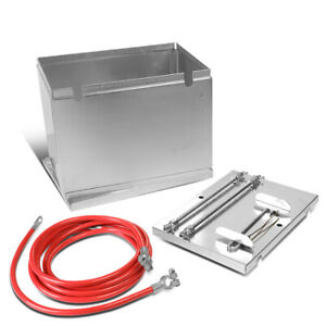 Aluminum Battery Box Relocation Kit W 2 Gauge Cable Wire 13 5 W X 9 5 D X 10 H