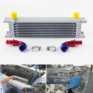 Universal 248mm 7 Row An10 Aluminum Engine Transmission Oil Cooler Silver Kit
