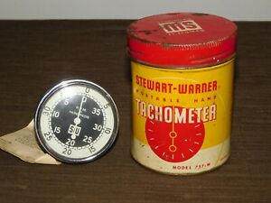 Vintage Stewart Warner Portable Hand Tachometer In Metal Can Model 757 w