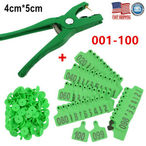100 Number Sheep Goat Pig Cattle Cow Livestock Ear Tag Id applicator Plier 4 5cm