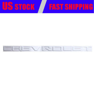 White Chevrolet Nameplate Tailgate Emblem Fit For Chevy Silverado 1500 2500 3500