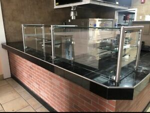 108 9 Ft Pizza Display Case Glass Sneeze Guard All Stainless Steel W Shelf