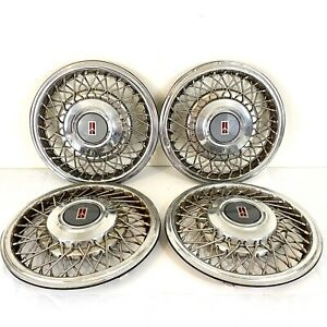 Set Of 4 15 Wire Turbine Hub Caps Wheel Covers Oldsmobile
