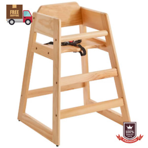 Restaurant Dining Toddler Kid Baby Wooden Safety High Wood Chair W Secure Belt