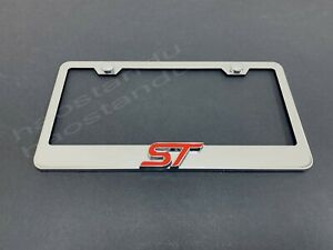 1x Red St 3d Emblem Stainless Steel License Plate Frame Rust Free S Cap