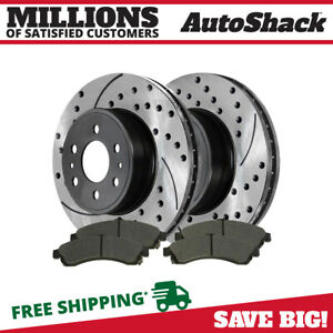 Front Drilled Slotted Brake Rotors And Metallic Pads For 2002 2005 Gmc Envoy Xl
