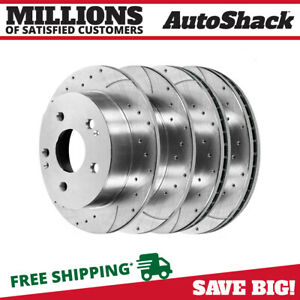 Front Rear Drilled Slotted Disc Brake Rotors Set Of 4 For 2002 2006 Acura Rsx