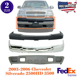 Front Bumper Chrome Steel Cover Kit For 2003 2007 Chevy Silverado 2500hd 3500