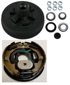 Electric Trailer Brake 10 Lh Self Adjusting Backing Plate Drum Kit 6 Lug On 5 5