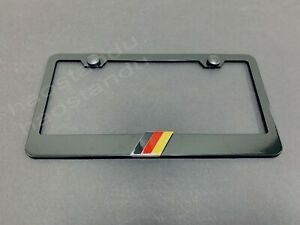 1x German Flag 3d Emblem Black Stainless License Plate Frame Rust Free S Caps