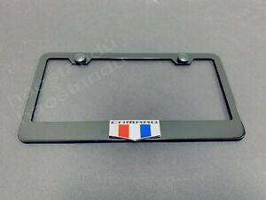 1xcamarosix Logo 3d Emblem Black Stainless License Plate Frame Rust Free S Cap
