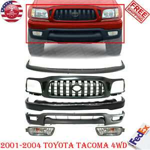 Front Bumper Primed Steel Kit Grille Fogs For 2001 2004 Toyota Tacoma 4wd