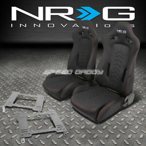Nrg Black Reclinable Racing Seats Stainless Steel Bracket For 350z Z33 Fairlady