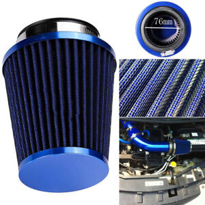 3 Universal Inlet High Flow Short Ram Cold Intake Round Cone Air Filter Replace