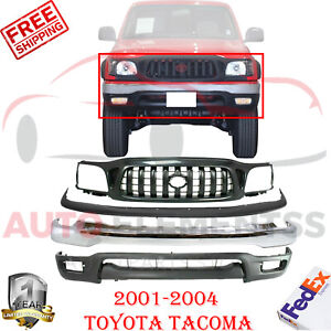 Front Bumper Chrome Filler Grille Valance For 2001 2004 Toyota Tacoma Base Dlx