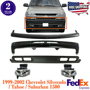 Front Bumper Kit W Fog Light For 1999 04 Chevy Silverado Tahoe Suburban 1500