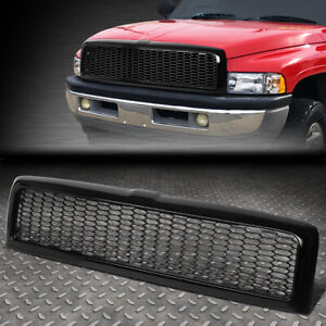 For 94 02 Dodge Ram Truck Glossy Honeycomb Mesh Front Bumper Grille Grill Frame