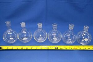 Lot Of 6 250 Ml Boiling Flask Vintage Lab Equipment Kimax Ace Pyrex Flasks