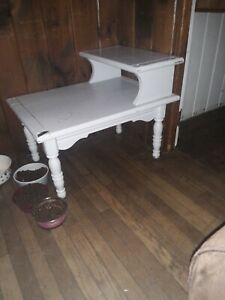 Grand Rapids Furniture Antique Mahogany Side Tables Painted White