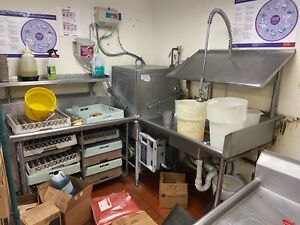 Hobart Am14cp Commercial Corner Dishwasher With 2 Tables