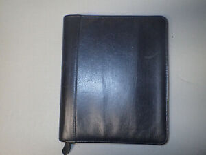 Franklin Black Leather 7 ring Day Planner organizer 15358 238 10 5 x9