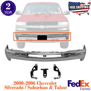 Front Bumper Chrome Steel Brackets For 2000 2006 Chevy Silverado Suburban Tahoe
